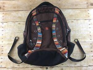Swiss Wear Backpack Airflow 6 Pocket Brown Bottle Pockets School Laptop Book