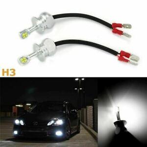 2x High Power White H3 LED Bulbs 80W DRL Daytime Running Fog Lights