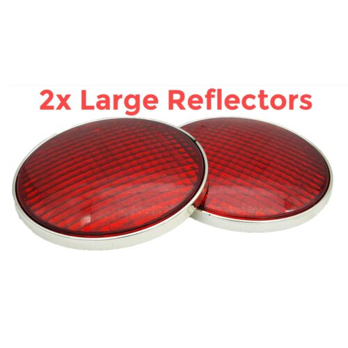 Large Red Sticker Reflector Round 2 Piece Trailer Caravan Rear Horsebox Chrome