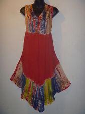 Long Tunic Top Fits Size 1X 2X 3X Plus Red Blue Tie Dye V Neck Jumper Dress 41
