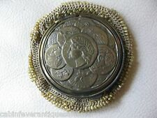Antique Victorian Gold T Roman Coin Tam O Shanter Crochet Green Bead Purse