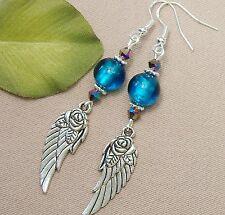 "Rose Angel Wing Teal Silver Foil Glass Crystal Pierced Earrings 3"" ..."