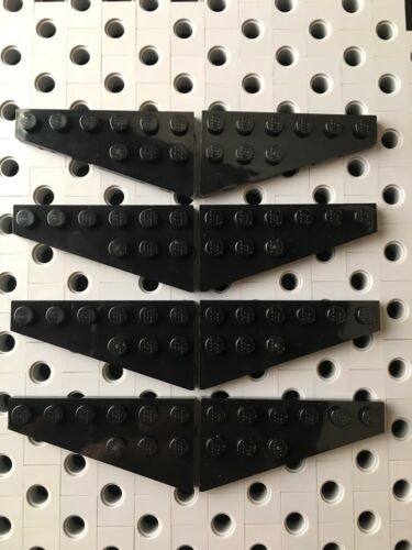 Lego 6x3 Black Wedge Base Plate Right /& Left Wing Corner Airplane New 8pcs