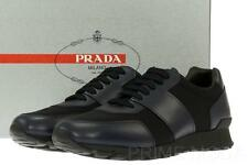 NEW PRADA BLACK BLUE LEATHER FABRIC LOGO SNEAKERS LACE-UP SHOES 8/US 9