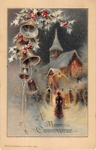 Bells-amp-Holly-at-Night-by-People-Going-to-Church-in-Snow-1916-Winsch-Christmas-P