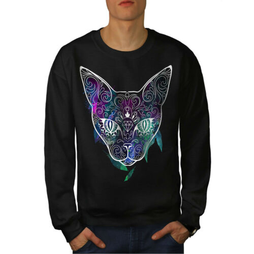 Cute Casual Pullover Jumper Wellcoda Mystic Cosmos Animal Cat Mens Sweatshirt