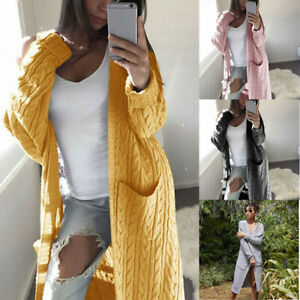 Sweater-Cardigan-Womens-Front-Long-Casual-Sleeve-Coat-Open-Knitted-Solid-Outwear