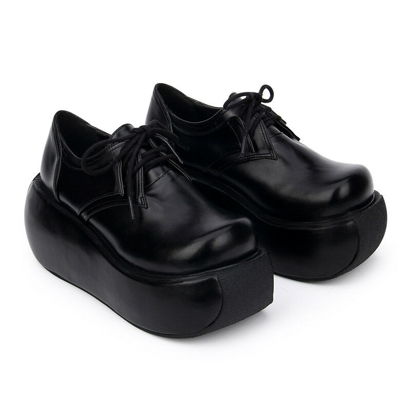 Women's Creeper Platform Wedge Heels shoes Punk Gothic Lolita Round Toe Pumps