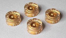 Gold Speed Knobs Set/4 For USA Split Shaft Pots Fits Gibson® Guitars