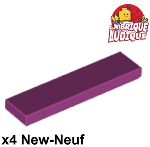 Lego 4x Tile plaque lisse 1x4 with Groove magenta 2431 NEUF