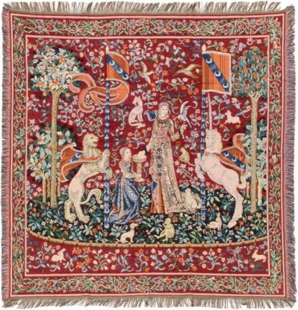 NEW 60  LADY & UNICORN THE TASTE TABLE BLEGIAN TAPESTRY THROW BED SPREAD 7156