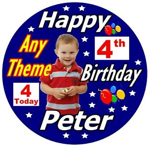 NEW PHOTO NAME ANY AGE BOYS BIRTHDAY BIG BADGE PERSONALISED ANY COLOURS