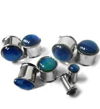 "PAIR-Mood Stone Steel Double Flare Plugs 12mm/1/2"" Gauge Body Jewelry"