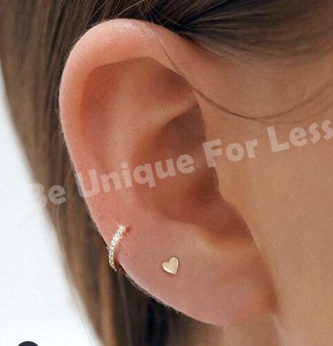ISHQ GIFT SET Flat Back Heart Tragus Hoop Cartilage Ring Bar Stud CZ Nose Ring
