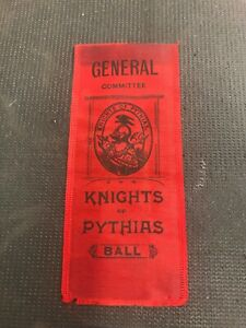 General-Committee-Knights-Of-Pythias-Ball-1880-s-Scarce-Ribbon-Pennant