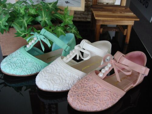 Girl/'s Lace Pearl T-strap Flat Sandal Shoes Color Mint  or white Close Toe