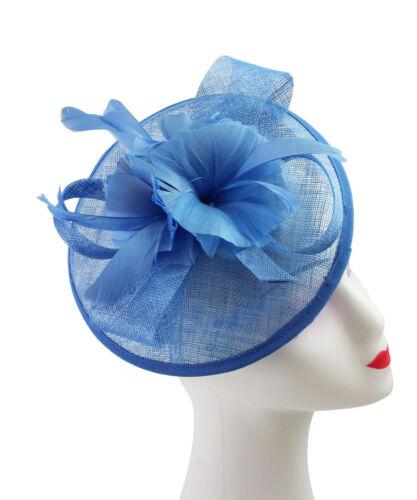 Flower Feather Hair Hat Fascinator Headband Clip Wedding Royal Ascot Formal Race