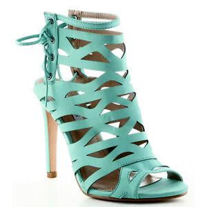Cape-Robbin-Aqua-Blue-Lace-up-Strappy-Open-toe-Stiletto-Heels-Women-039-s-shoes
