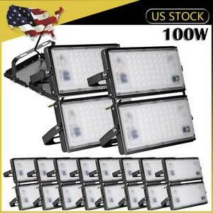 10x100W LED Flood Light SMD Outdoor Fixture Cool White Garden Building Yard Lamp