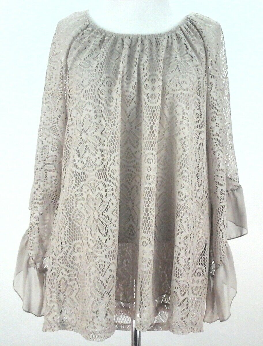SCULLY Shirt Blouse Beige Khaki Country WESTERN PEASANT Lace Women's size S to M