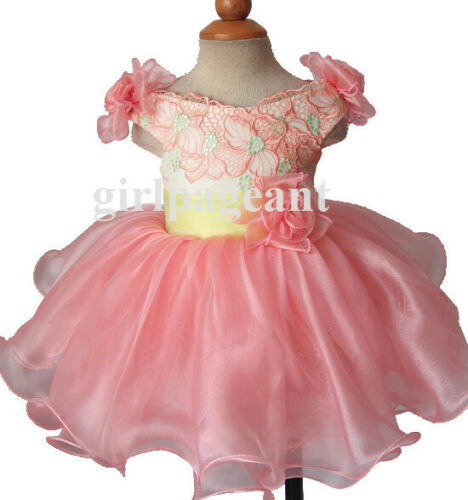Infant//toddler//baby natural Pageant//formal  Dress G188-1 with hairbow