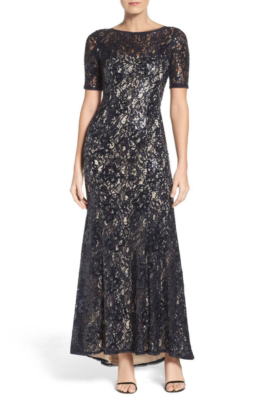 Adrianna Papell Women's Midnight Nude Short Sleeve Sequin Lace Mermaid Gown NWT