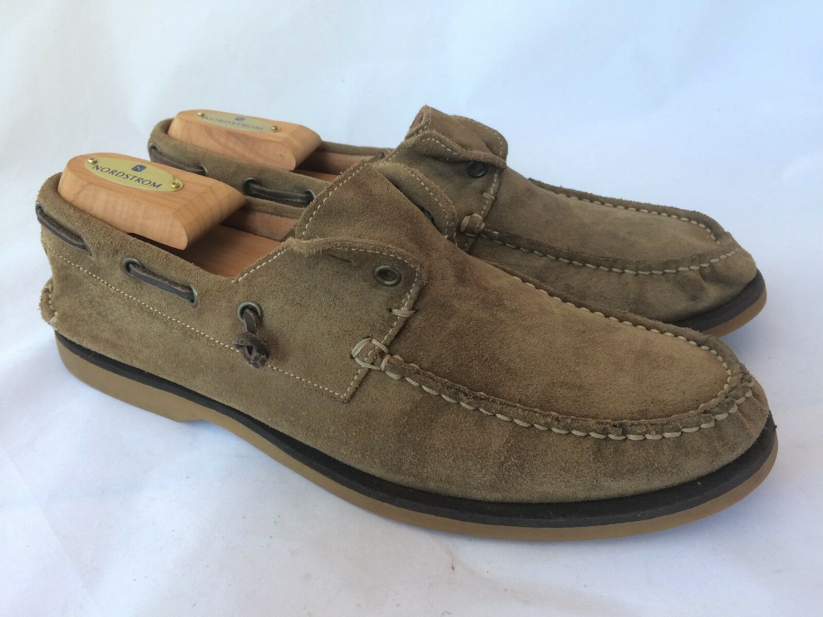 Men's John Varvatos Beige Suede Leather Loafers Made in Italy size 9