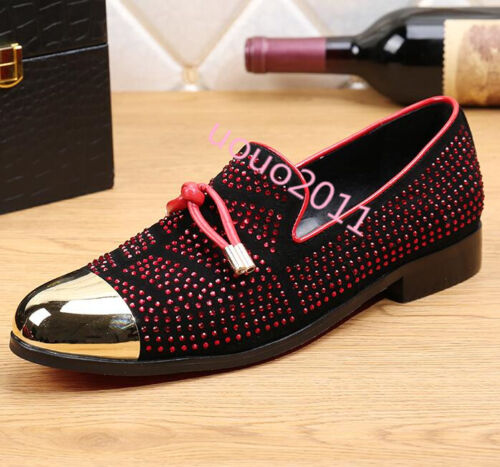 Mens stylish Fashion Metal Toe slip on Rhinestones Loafers moccasins Flats shoes