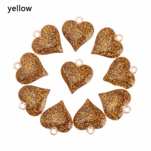 Glitter DIY Accessories Shining Heart Pendants Handmade Jewelry Enamel Charms