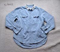 Women Abercrombie Denim Jean Shirt Blouse Button Down Cotton Top Woven A&f L