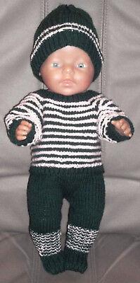 41-43 Cm 3-teiliges Set Gestrickt üBereinstimmung In Farbe Puppenkleidung Gr