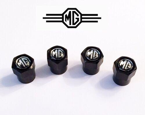 4 x Matt Noir Pneu Valve Dust caps compatible avec mg