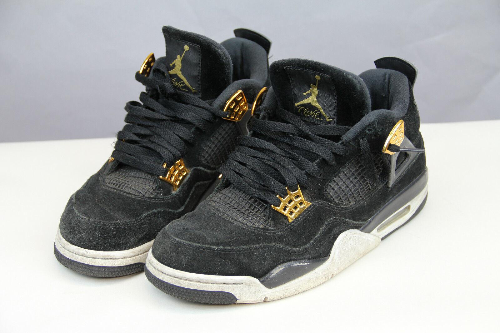 bf0795164946c4 Nike Air Jordan IV Retro 4 Premium Royalty Suede Black Gold Aj4 ...