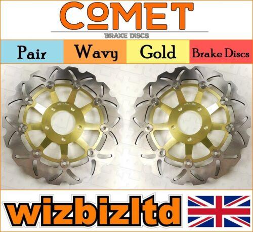 1995-99 W903GD2 Pair Front Gold Wavy Brake Discs Suzuki GSF 600 X Naked Bandit