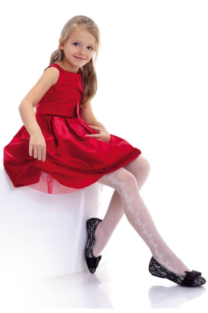 """Jasmina"" White Patterned Tights 20 Denier Girl's Kid's  Party  Holy Communion"