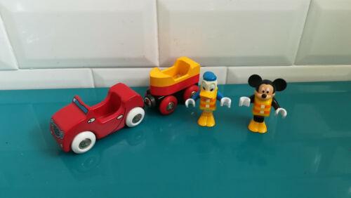 Lot véhicule pour circuit de train en bois Brio Voiture bateau mickey donald