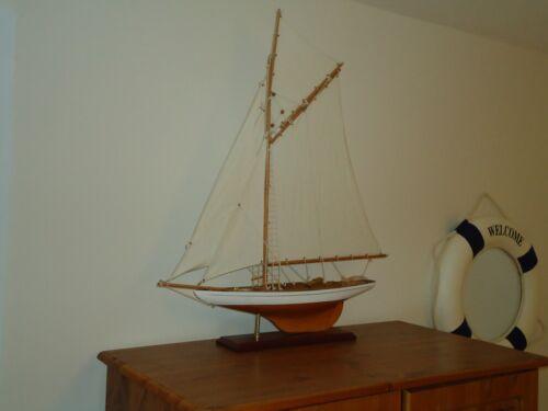 Gran modelo Lulworth Yacht 72 Cm en Soporte Hecho A Mano De Madera-Maritime nave barco.
