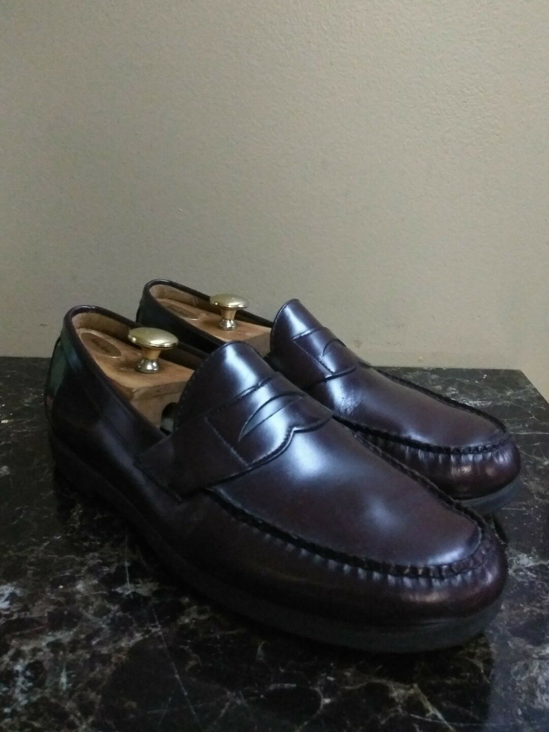 SEBAGO Classic Burgundy Penny Loafers HAND SEWN Made In USA Moc-Toe Size 11.5 M