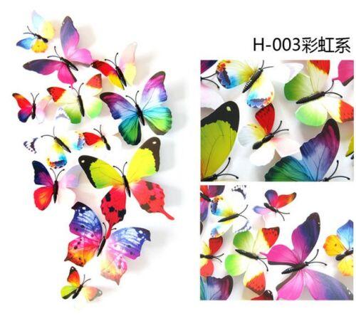 24Pcs 3D Butterfly Sticker Art Design Vivid Decal Wall Stickers Home Decor UH OU