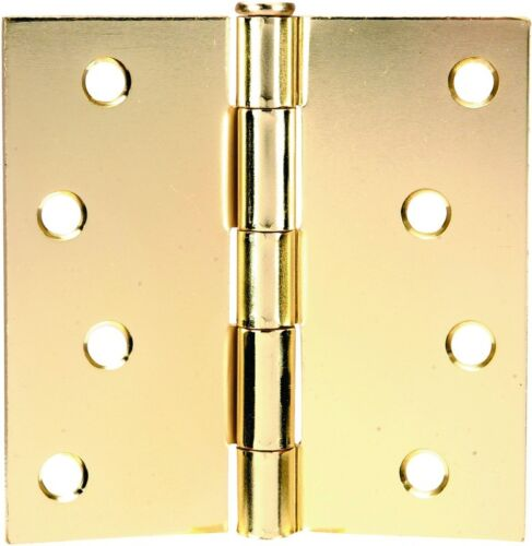 """52-1492 Polished Brass Door Hinges 4/"""" with Square Corners/"""""""