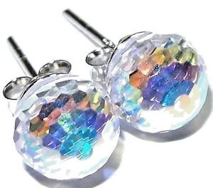 Details About Rhodium 925 Silver Made W Swarovski Crystal 8mm Aurora Borealis Stud Earrings