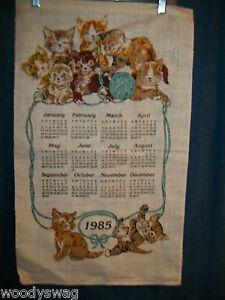 Vintage-Calendar-1985-Kittens-Blue-Ball-Playing-Linen-Quilt-Craft-Free-USA-Ship