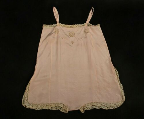 VTG Women's 20s 30s Pink Underwear / Slip w Embroi