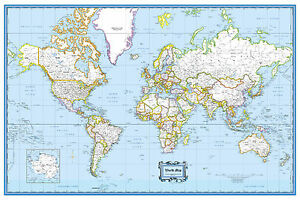 """World Wall Map Poster Classic Blue  - 36""""x24"""" Rolled Paper 2020"""