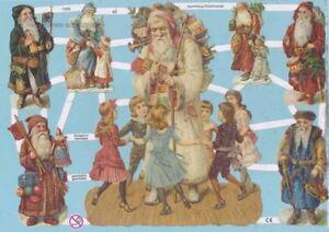 Oblaten, Glanzbilder, Scrap EF7255 mit Glimmer, Nikolaus, Weihnachtsmann<wbr/>, Santa