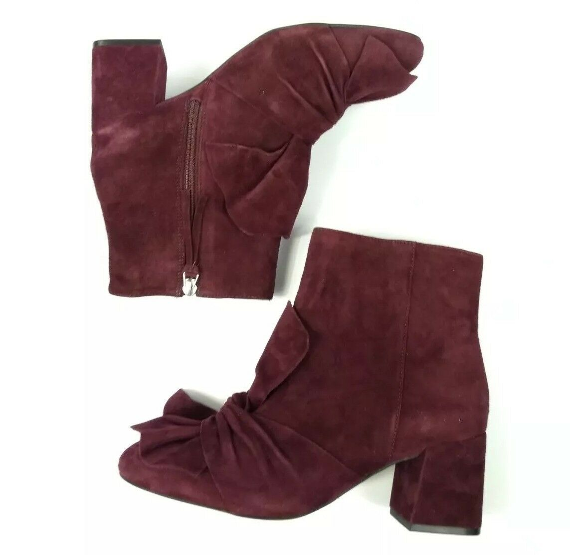 Rebecca Minkoff Lara Booties Bow Red Red Red Burgundy Suede Ankle Boots Size 8.5 New 935570