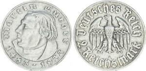 3. Reich 2 Mark Luther 1933 a ss-vz 54827