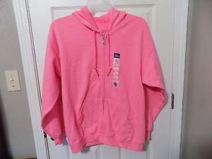 04ed1a58 Gildan Smart Basics Men's Full Zip Hooded Fleece Safety Pink Size ...