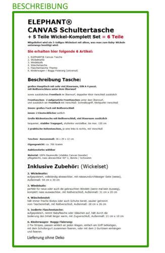6T SET Wickeltasche CANVAS ELEPHANT Babywickeltasche Umhängetasche 3520 SAND