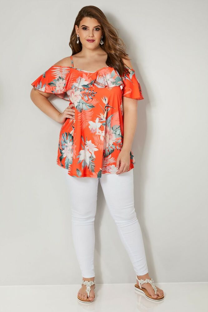 Nouveau Femme Yours Taille Plus Courbe Top 22/24, Orange Tropical Floral Froid Épaule